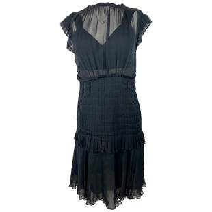 Chanel Navy Silk Midi Dress, Size 38
