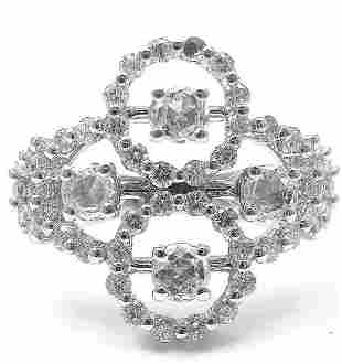 New! Authentic Damiani 18k White Gold Diamond Cluster