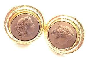 Authentic! Elizabeth Locke 18k Yellow Gold Lava Cameo