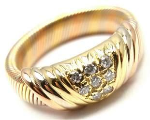 Rare! Authentic Cartier 18k Tri-Color Gold Diamond Band