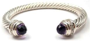 David Yurman 7mm 925 Sterling Silver Diamonds Amethyst