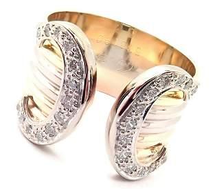Authentic! Cartier Diamond Double C 18k Tri-Color Gold
