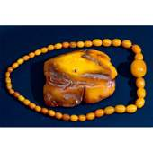 31 g. Vintage 100% natural Baltic amber necklace
