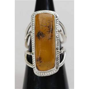 100% Natural Baltic amber, ring silver 925 stamped 8.14