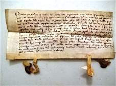 1305 Medieval Manuscript Vellum Seals
