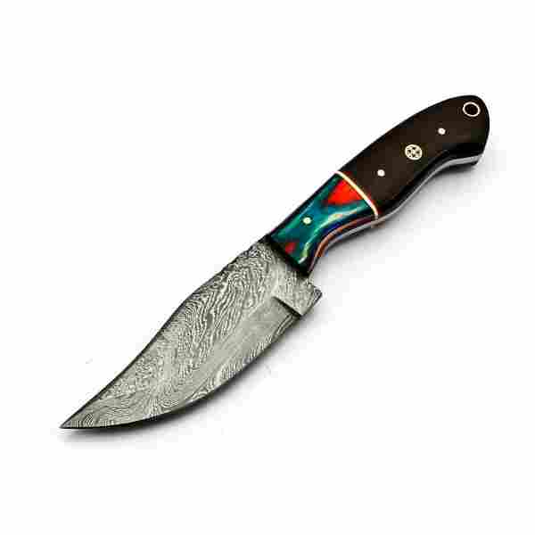 Camping hiking everyday carry damascus steel knife wood