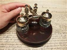 Brass Hardwood w 2 Clear Glass Inkwell bottles pots
