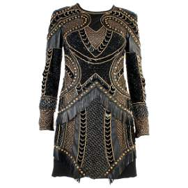 New Versace Crystal and Stud Embellished Leather Dress