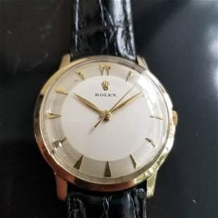 Mens Rolex 33mm 14k Solid Gold Hand-wind Dress Watch,