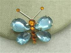 Vintage Blue Rhinestone Butterfly 1960's, Gold Tone,