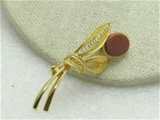 Vintage Goldstone Filigree Floral Brooch, 1960's