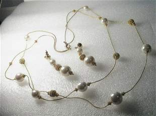 VTG 2-Strand Goldtone Faux Pearl/Wrapped Beaded
