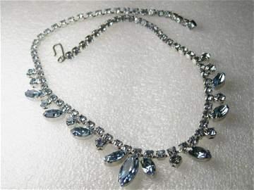 """Vintage 15"""" Baby Blue Glass Rhinestone Choker, Marquis"""