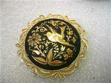 Vintage Gold tone Damascene Brooch with Filigree