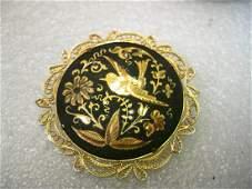 Vintage Gold tone Damascene Brooch with Filigree