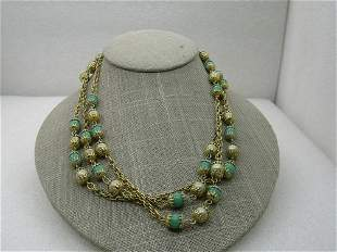 """Vintage Green Glass Faux Pearl Necklace, 54"""", 8mm"""