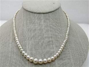 "Vintage Graduated Faux Pearl Necklace, 17.5"","