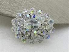 """Vintage Aurora Borealis Crystal Brooch, 1.75"""", Silver"""
