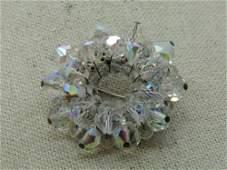 Vintage Crystal Beaded Circle Brooch, Aurora Borealis,