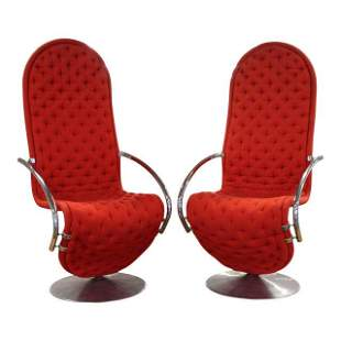 Pair of Verner Panton 1-2-3 System Lounge Chairs