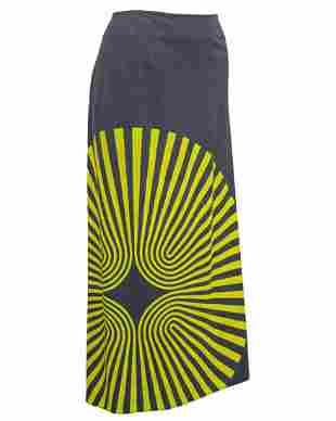 Dries Van Noten Yellow Spiral Print Pencil Skirt in
