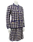 Chanel Navy woven wool classic skirt suit
