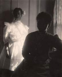 1905_Woman In Dark Dress-striped Collar; Girl In White