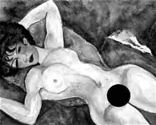 Blue Nude; Photolithograph After Watercolor Original