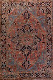 Antique Vegetable Dye Heriz Serapi Persian Rug 12x16