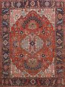 Pre-1900 Antique Heriz Serapi Vegetable Dye Persian Rug