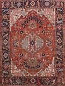 Pre-1900 Antique Heriz Serapi Vegetable Dye Persian Rug