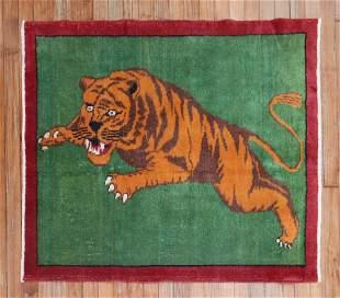 Green Roaring Tiger Mid 20th Century Rug