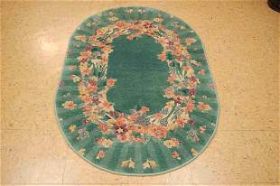 """C1930's ART DECO CHINESE OVAL RUG 3'1"""" X 4'10"""""""