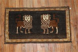 Brown Charcoal Lion Pictorial Rug