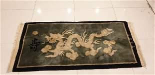 Antique Art Deco Chinese Dragon Rug