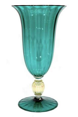Vintage Murano glass vase with gold