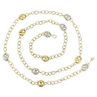 Vintage Yellow and White Gold Two Tone Chain Necklace,