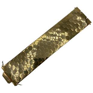 1950's FOB MOB DEP Yellow Gold Honey Comb Bracelet