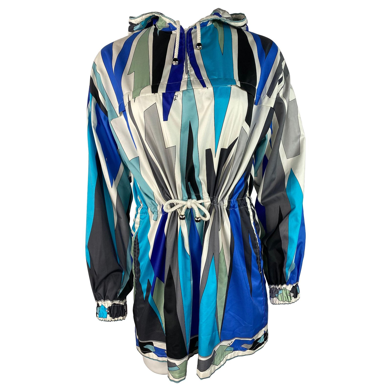 Vintage Emilio Pucci Blue Nylon Wind Parka Jacket, Size