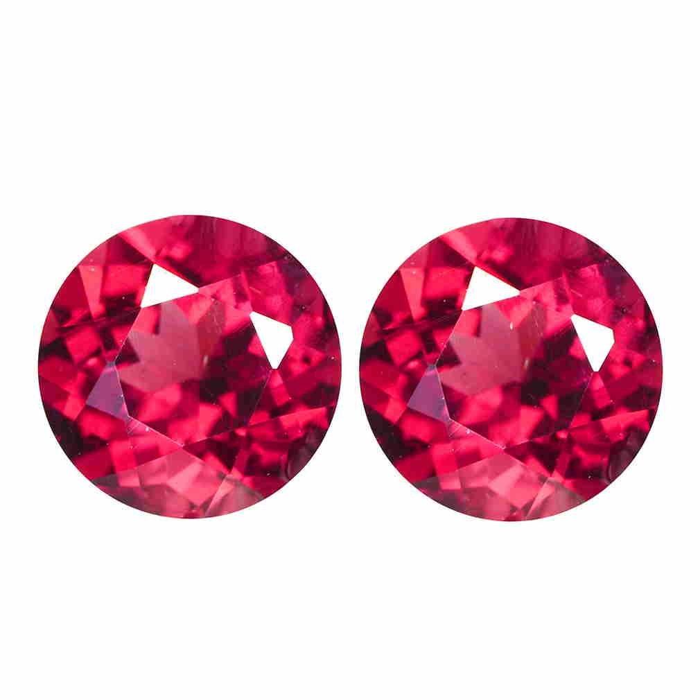 *gempiece* 1.35 C.t Natural Garnet Pair Unheated Round Cut Rare Rubilite Red