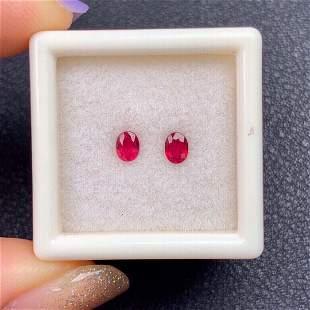 Oval Cut 0.59Carats Ruby Loose Gemstone 2 pcs