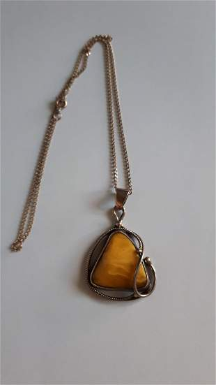 Vintage Amber And Silver Pendant