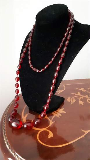 Antique Victorian Jewelry Cherry Amber Bakelite