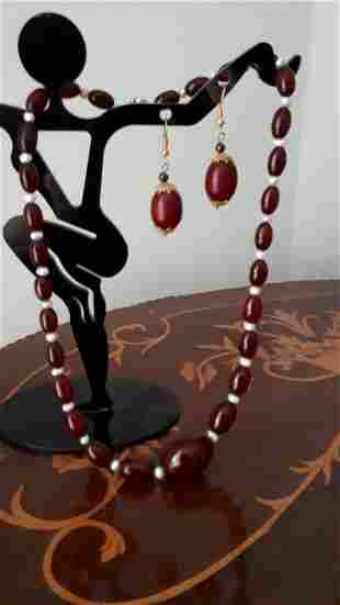 Vintage Cherry Amber Bakelite Necklace and Similar