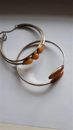 Vintage Natural Amber Two Bracelet