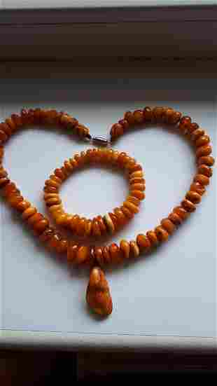 Vintage Chinese Natural Amber Necklace and Pendant ,