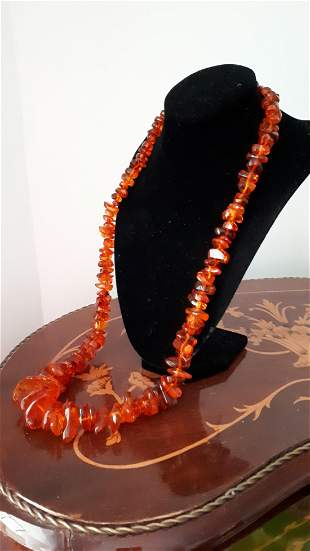 Large Natural Amber Stone Necklace  97 gr