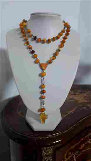 Vintage Natural Amber Rosary Handmade