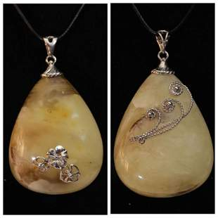 31 gr Natural Baltic amber pendant silver