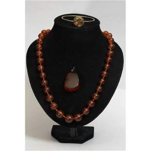 Antique natural Baltic amber set necklase, pendant and